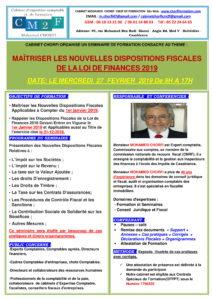 SEMINAIRE LA LOI DE FINANCES 2019 LE 27 FEVRIER 2019 -1