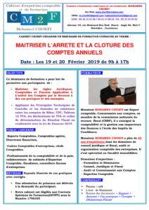 SEMINAIRE MAITRISER LÔÇÖARRETE ET LA CLOTURE DES COMPTES ANNUELS 19 et 20 FEVRIER 2019-1