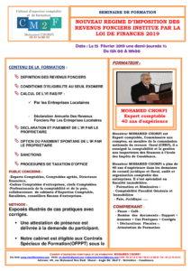 SEMINAIRE NOUVEAU REGIME DÔÇÖIMPOSITION DES REVENUS FONCIERS INSTITUE PAR LA LOI DE FINANCES 2019-1